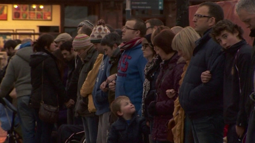 Peace campaigners held a vigil outside Belfast City Hall