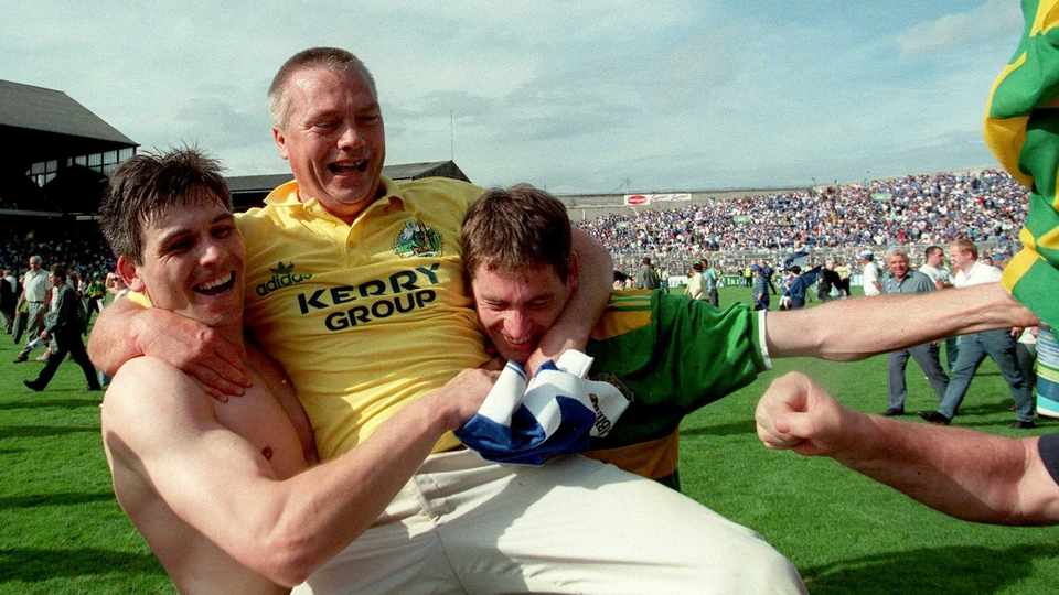 O'Se carried off the field after Kerry's victory in the All-Ireland semi-final in 1997