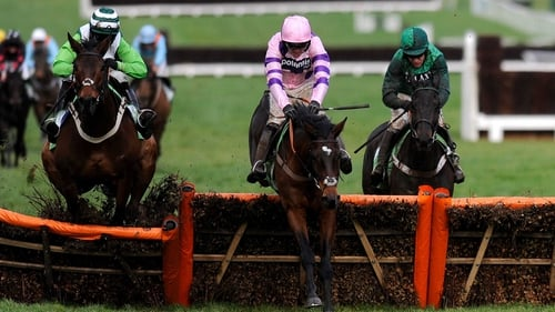 Ruby Walsh riding Zarkandar clear the last to win the StanJames.com International Hurdle