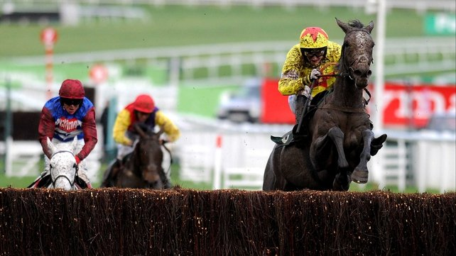 Making a big splash. Unioniste (right) on his way to victory in the IronSpine Charity Challenge Gold Cup at Cheltenham