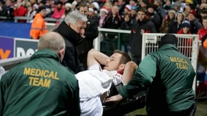Tommy Bowe was helped from the field in the closing stages in Ravenhill