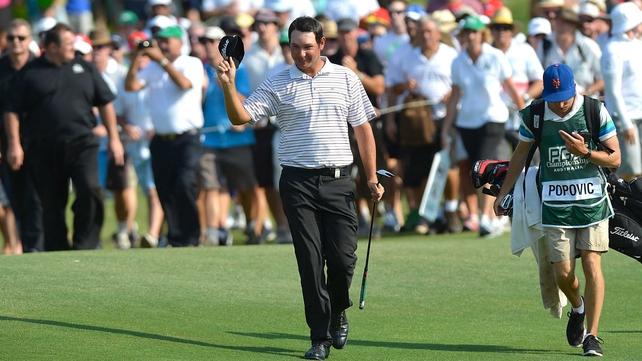 Daniel Popovic celebrates winning the Australian PGA at the Palmer Coolum Resort