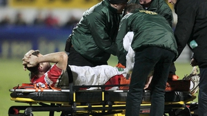 Tommy Bowe was stretchered from the Ravenhill pitch with lateral ligament damage during Ulster's defeat to Northampton