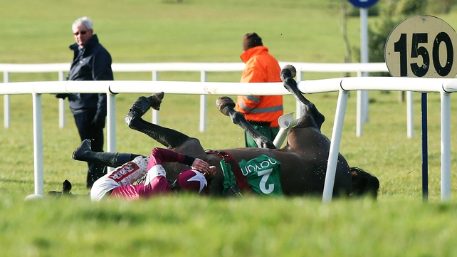 Don Cossack fell at the final hurdle in the day's feature but was already well beaten. He escaped unscathed.