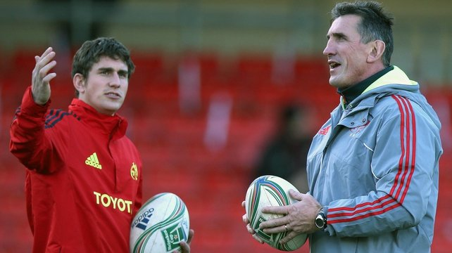 Ian Keatley with Rob Penney prior to the match in Vicarage Road