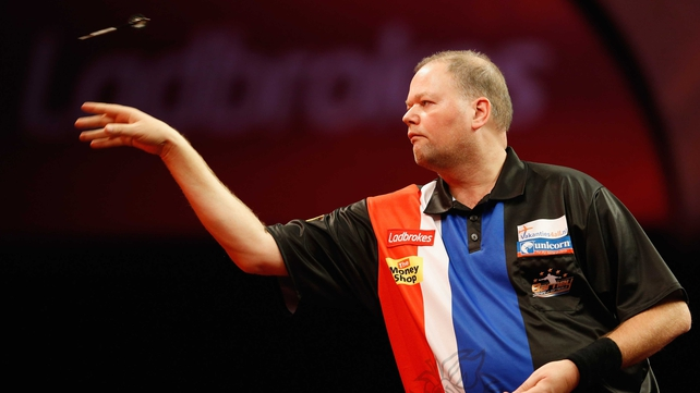 Raymond van Barneveld  in action during day 3 at Alexandra Palace
