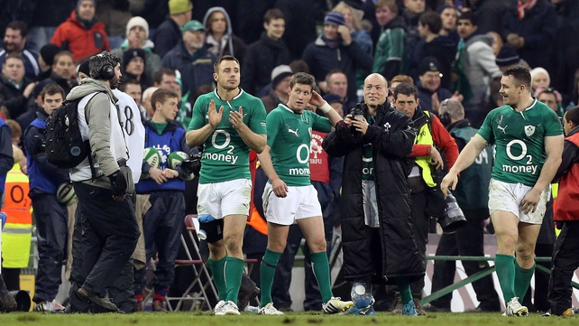 Tommy Bowe (left) and Richardt Strauss (third from left) both suffered ligament damage at the weekend