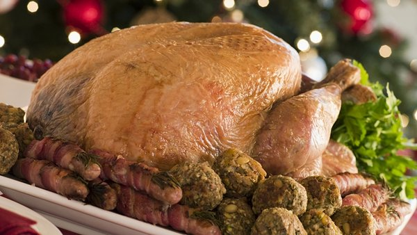 Old-fashioned Roast Turkey with Fresh Herb Stuffing, Cranberry Sauce and Bread Sauce