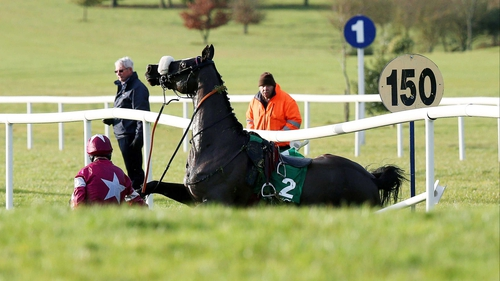 Davy Russell falls from his mount Don Cossack in the Navan Novice Hurdle