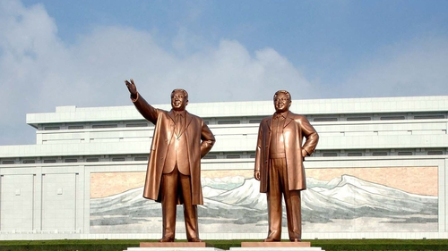 The service was held in a mausoleum that contains the bodies of Kim Jong-il and Kim Il Sung