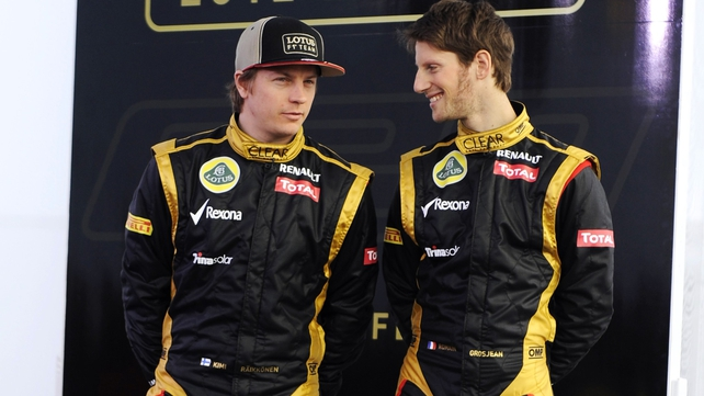 Lotus' Finnish Kimi Raikkonen (l) and Swiss Romain Grosjean will be partners in 2013