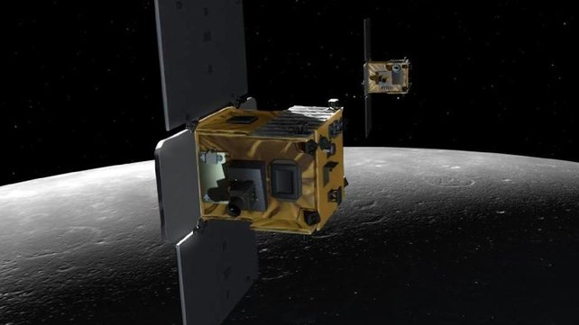 NASA released an artist's depiction of the Ebb and Flow spacecraft