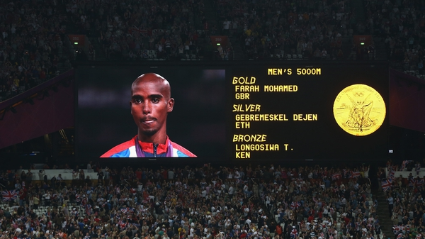 Farah pictured his win in the 5,000 metres at the London Games