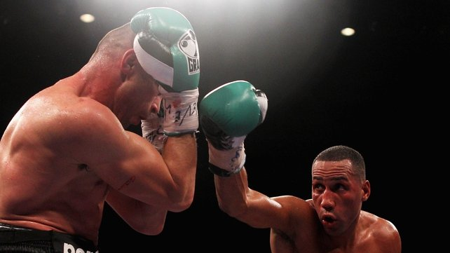 James DeGale attacks Piotr Wilczewski during the European super-middleweight title bout held at Liverpool Echo Arena last October