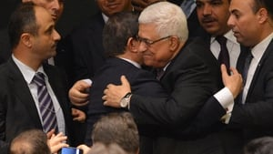 NOVEMBER: President Mahmoud Abbas was congratulated by Turkey's Foreign Minister after the UN General Assembly voted to recognise the state of Palestine