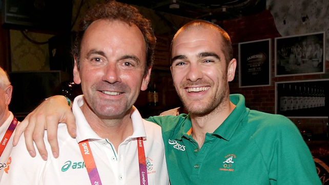 Stephen Martin (l) pictured with RTÉ blogger and London 2012 badminton competitor Scott Evans