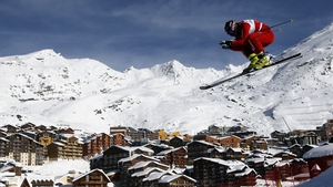 Armin Niederer of Switzerland gets a good aerial view of the French resort of Val Thorens en route to winning the FIS Freestyle Ski World Cup