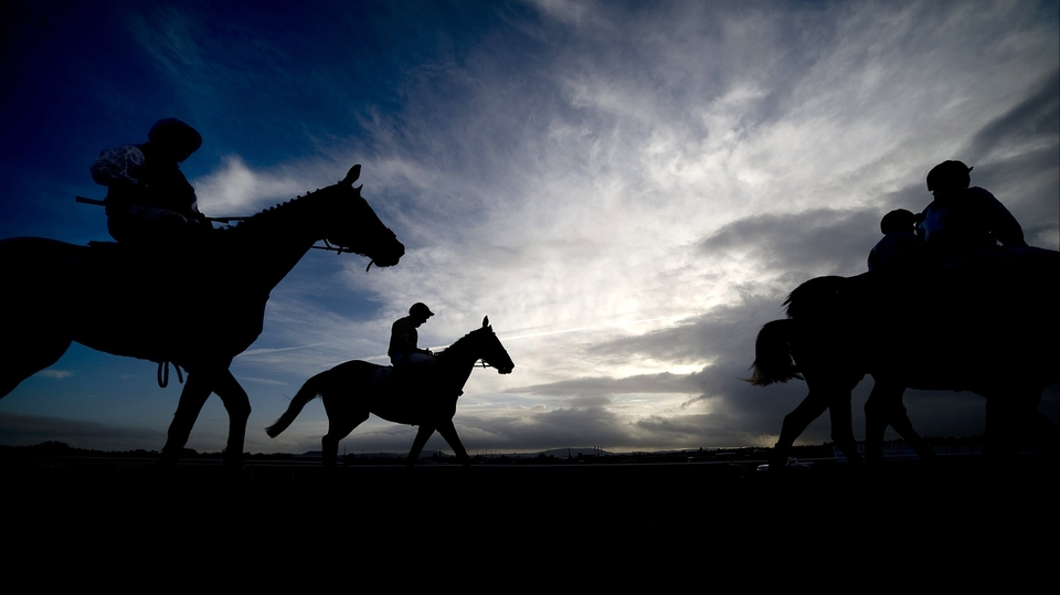Runners return after finishing during the last meeting to be held at Hereford racecourse after 241 years of racing