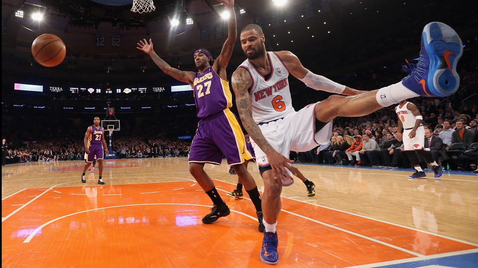 'You put your left foot in, left foot out...' - Tyson Chandler of the New York Knicks takes time out to do the hokey-cokey after scoring two points against the LA Lakers at Madison Square Garden
