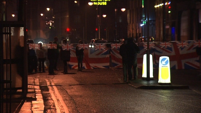 It is the 19th day of protests over the flying of the union flag at Belfast City Hall