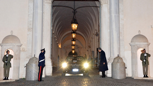 Mario Monti leaving the Quirinal Palace after handing in his resignation to President Giorgio Napolitano last night
