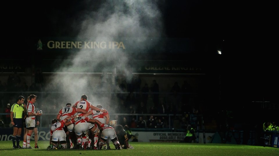 Steam rises from the pack during the Amiln Challenge Cup match between London Wasps and Newport-Gwent Dragons