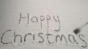 Clare MacDermott wrote a fextive message in the snow in Nova Scotia, Canada