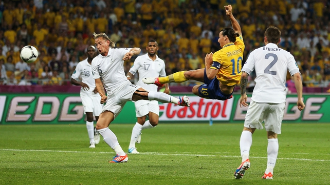 Zlatan Ibrahimovic scoring one of the goals of the EURO 2012 tournament against France in Ukraine