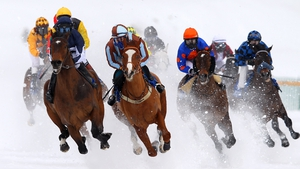 The White Turf horse racing meeting is held on the frozen Lake St Moritz in Switzerland each February