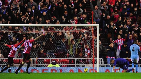 Joe Hart is beaten by Adam Johnson's shot for Sunderland's goal