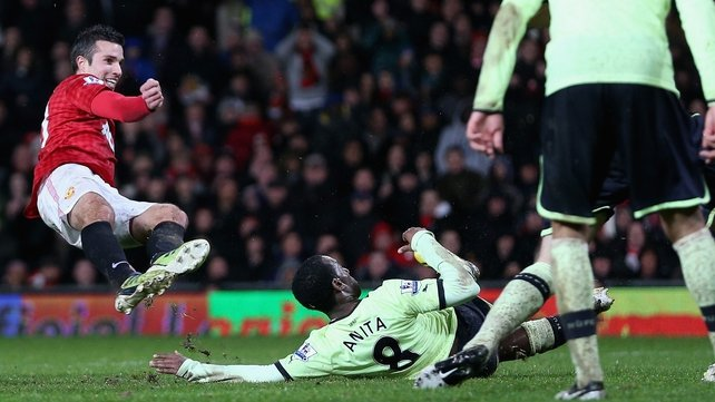 Robin van Persie scoring United's third goal against Newcastle in a seven-goal thriller at Old Trafford