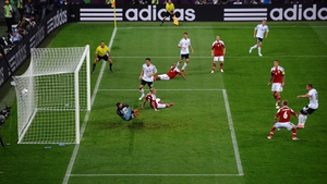 Germany take the lead against Denmark in Lviv thanks to a Lukas Podolski goal