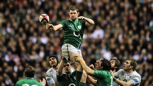 Ireland lock Donnacha Ryan wins a line-out against England at Twickenham