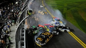 A huge crash during the NASCAR Camping World Truck Series