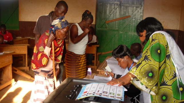 People vote in 2011 at a polling station in Bangui, where rebels are headed