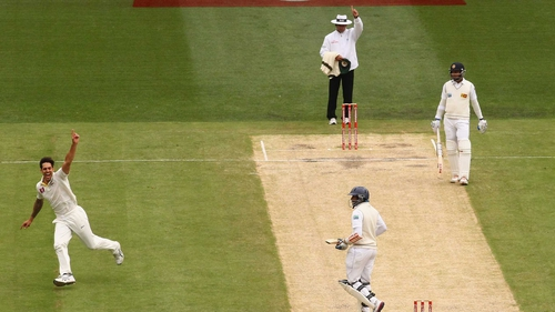Mitchell Johnson celebrates after taking Tillakaratne Dilshan's wicket at the MCG