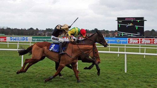 Back In Focus (near side) wore down stablemate Aupcharlie in the closing stages of the Topaz Novice Chase at Leopardstown over Christmas