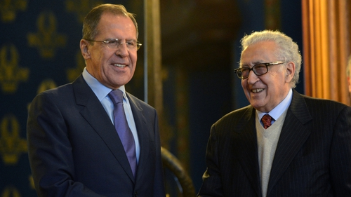 Russian Foreign Minister Sergei Lavrov holds talks with UN Arab League envoy Lakhdar Brahimi