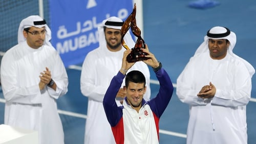 Novak Djokovic claimed the Abu Dhabi exhibition tournament for a second time on Saturday