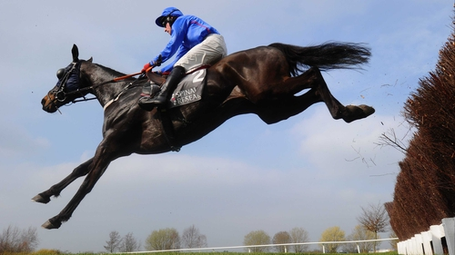 Paddy Flood on Rare Bob in action at Cheltenham last March