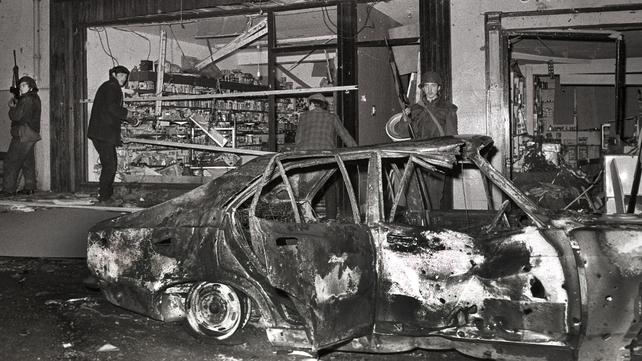 The scene of the car bomb in Belturbet, Co Cavan in 1972