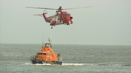 The Coastguard helicopter and lifeboat were involved in the search