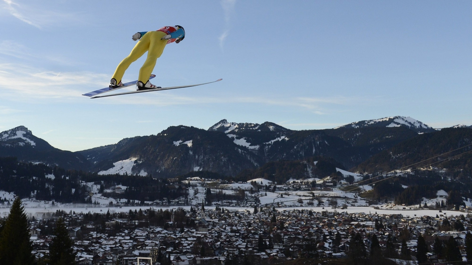 Austrian ski jumper Wolfgang Loitzl during a training jump at the Four-Hills-Tournament in Oberstdorf, southern Germany
