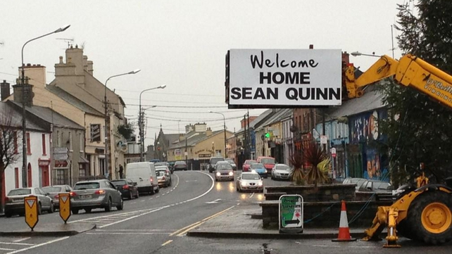 A sign in Virginia, Co Cavan, welcoming home the businessman