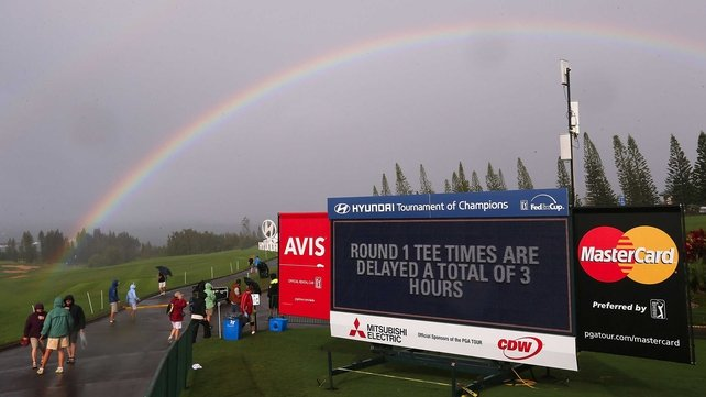 A rainbow is seen over the Plantation Course