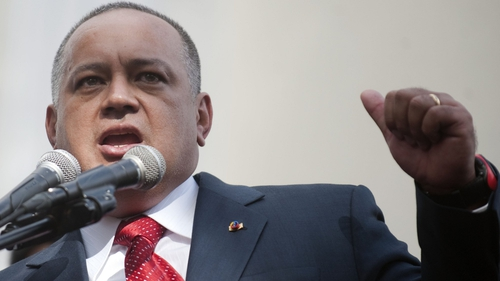 Diosdado Cabello speaks outside the National Assembly in Caracas