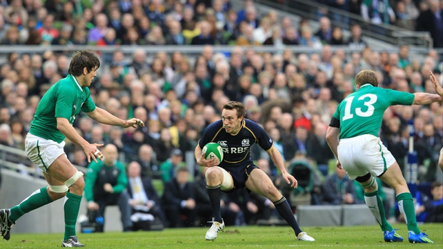 Mike Blair in Six Nations action against Ireland at the Aviva last year