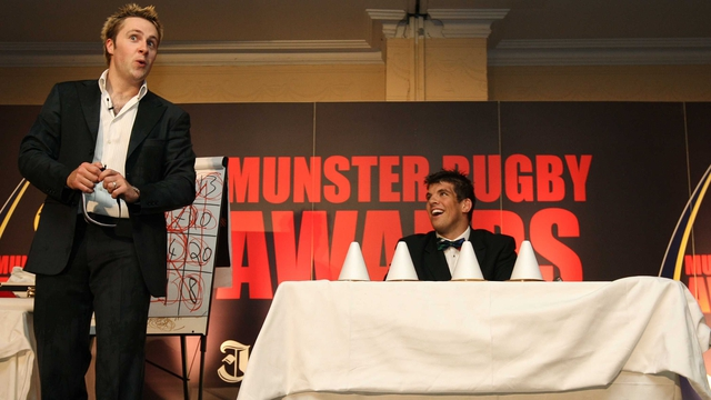 Keith Barry entertains Munster rugby player Donncha O'Callaghan