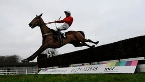 Joshua Moore and Well Refreshed clear the last to win The At The Races Sussex National at Plumpton racecourse, England