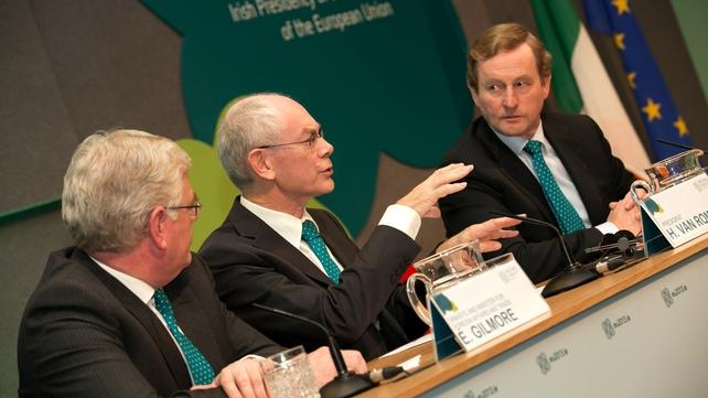 Eamon Gilmore, Herman Van Rompuy and Enda Kenny at Dublin Castle